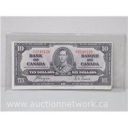 Bank of Canada $10.00 Ten Dollars EE 1937 Note J/T 2248126 EF
