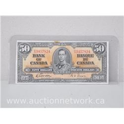 Bank of Canada $50.00 Fifty Dollars Note B/H 3457824 (Jan 2nd,1937) Gordon Towers