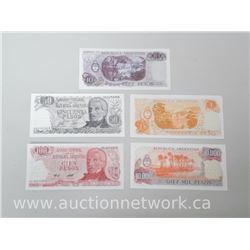 Banco Central de la Republica Argentina 5pc Set of Banknotes