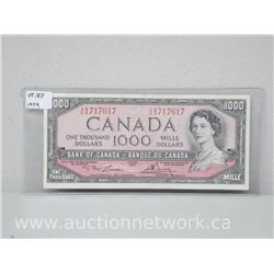 Bank of Canada $1000.00 One Thousand Dollars VF/EF 1954 Note (A/K 1717617)