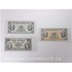 Lot of (3) 1935 Notes *$5.00 Bank of Montreal, $10.00 and $5.00 The Royal Bank of Canada*