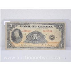 Bank of Canada $5.00 Five Dollars Note -Rare- Osbourne/Towers - CR