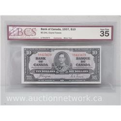 Bank of Canada 1937 $10.00 Coyne-Towers Bc-24c VERY FINE 35 BCS