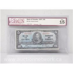 Bank of Canada 1937 $5.00 Five Dollars Coyne-Towers Fine 15 BCS - Bc-23c