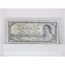 Bank of Canada $1.00 One Dollar Note 1954 DEVIL'S FACE