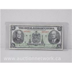 The Royal Bank of Canada Five Dollars $5 Note (Jan 2nd , 1943)