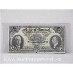 The Bank of Montreal Five Dollars $5 Note (Jan.3rd, 1938)