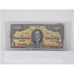 The Provincial Bank of Canada $10.00 Ten Dollars Note (1st. Sept 1936)