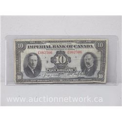 Imperial Bank of Canada Ten Dollars $10 Note (Jan.3 1939)