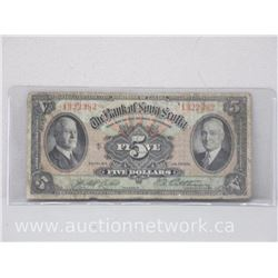 The Bank of Nova Scotia $5.00 Five Dollars Bank Note (Jan.2, 1935)