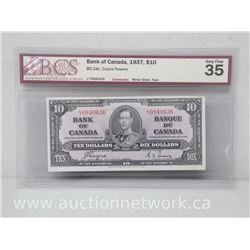 Bank of Canada 1937 $10.00 Note - Coyne/Towers - Bc24c - BCS VERY FINE 35