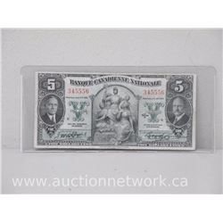 Banque Canadienna Nationale $5.00 Five Dollars Note (Jan 2nd, 1935)