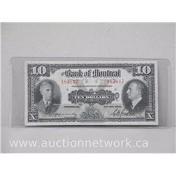 The Bank of Montreal $10.00 Ten Dollars Note (Jan 3, 1938)