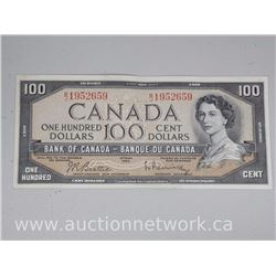 Bank of Canada $100.00 One Hundred Dollars Note (B/J) EF-F Beattie/Rasminsky