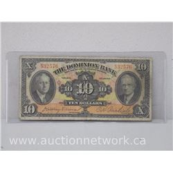 The Dominion Bank $10.00 Ten Dollars Note (Jan 2, 1935)