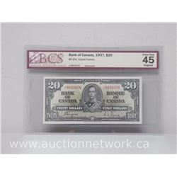 Bank of Canada 1937 $20.00 Note (Coyne/Towers) BC-25c BCS EXTRA FINE 45