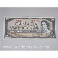 Bank of Canada $100 One Hundred Dollars Note Beattie/Rasminsky B|J