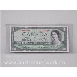 Bank of Canada DEVIL'S FACE $1.00 One Dollar Note (F|A) 1954