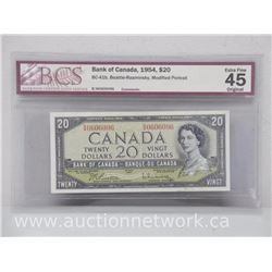 Bank of Canada 1954 $20.00 Beattie/Rasminsky Modified Portrait (Bc-41b) BCS Extra Fine 45