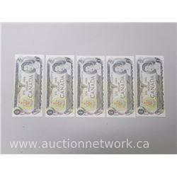 Lot of (5) UNC 1973 $1.00 Notes *In Sequence*
