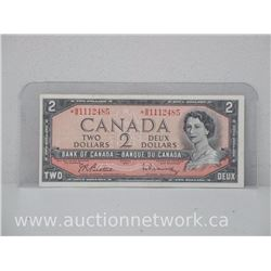 Bank of Canada $2.00 Two Dollars 1954 Replacement Note * Beattie/Rasminsky
