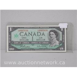 Bank of Canada $1.00 One Dollar 1967 Beattie/Rasminsky L/O Prefix
