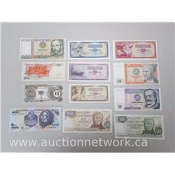 12pc World Paper Money Lot