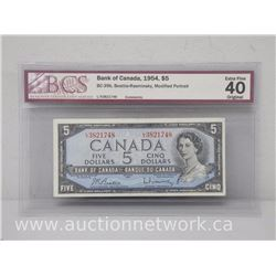 Bank of Canada 1954 $5.00 Five Dollars Note 1954 - Beattie/Rasminsky Mod.Portrait EXTRA FINE 40 BCS