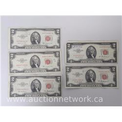 Lot of (5) U.S. $2.00 Two Dollars Red Seal Notes (1953 Series)