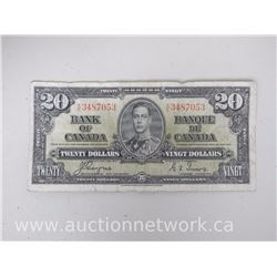 Bank of Canada $20.00 Twenty Dollars Jan.2,1937 K/E Note