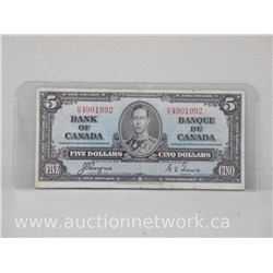 Bank of Canada Five Dollars $5.00 Note 1937 H/S