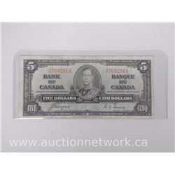 Bank of Canada $5.00 Five Dollars Note Coyne/Towers (D|S) Jan 2, 1937