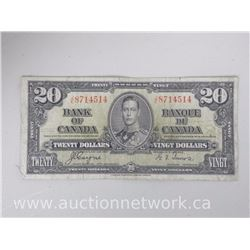 Bank of Canada $20.00 Twenty Dollars Jan.2,1937 J|E