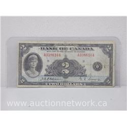 Bank of Canada $2.00 Two Dollars Osbourne/Towers 1935 Note A3386164