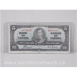 Bank of Canada Five Dollars $5 Note (1937) Coyne/Towers