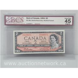 Bank of Canada 1954 $2.00 Two Dollars Beattie/Rasminsky Mod.Portrait EXTRA FINE 45 BCS