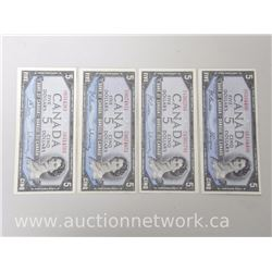Lot of (4) Bank of Canada $5.00 EF+ Notes (1954)