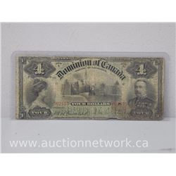 The Dominion of Canada RARE Four $4.00 Note July 2nd. 1900 SORX