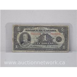 Banque Du Canada $1.00 Un Dollar Osbourne/Towers 1935 French Note