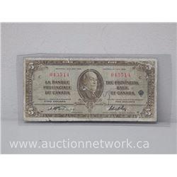 "La Banque Provinciale Du Canada ""Montreal Jan 2 1935"" Cinq Dollars $5.00"