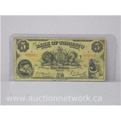 The Bank of Toronto Chartered By Act Of Parliament $5 Five Dollars (1935 Jan 2) Note
