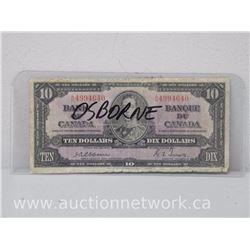 Bank of Canada $10.00 A/D Osbourne-Towers 1937 Bank Note