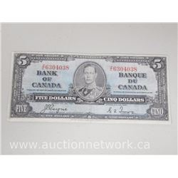 Bank of Canada $5.00 Five Dollars Coyne/Towers Note Z/C (1937)