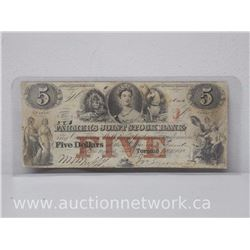Farmer's Joint Stock Bank - Upper Canada - Five Dollars $5.00 Toronto