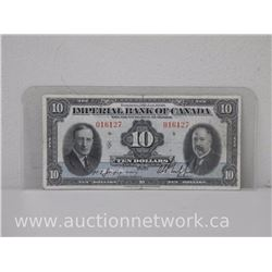 Imperial Bank of Canada Toronto 3rd Jan,1939 $10.00 Ten Dollars Note