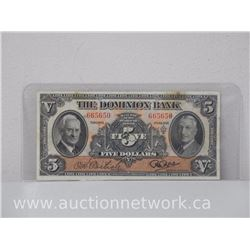 The Dominion Bank $5 Dollars Five Dollars Note (Jan 1938)