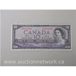 Bank of Canada $10.00 Beattie/Rasminsky G/T 1954 Note