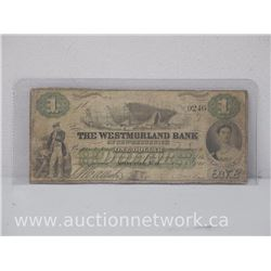 The Westmorland Bank of New Brunswick One Dollar (1861) Note