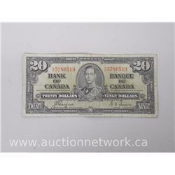 The Bank of Canada $20.00 Twenty Dollars Gordon/Towers C|E 1937 Note