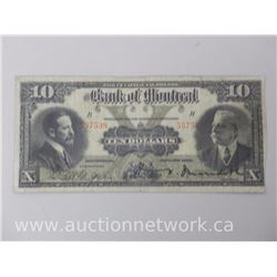 Bank of Montreal Nov 1914 Ten Dollars $10.00